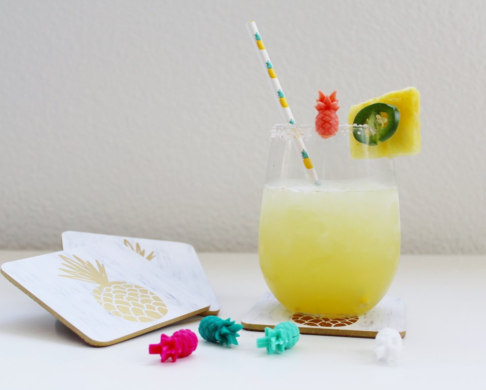 Pineapple Cork Coasters, Pineapple Drink Markers, Spicy Pineapple Margarita garnished with fresh pineapple and jalapeño slices.