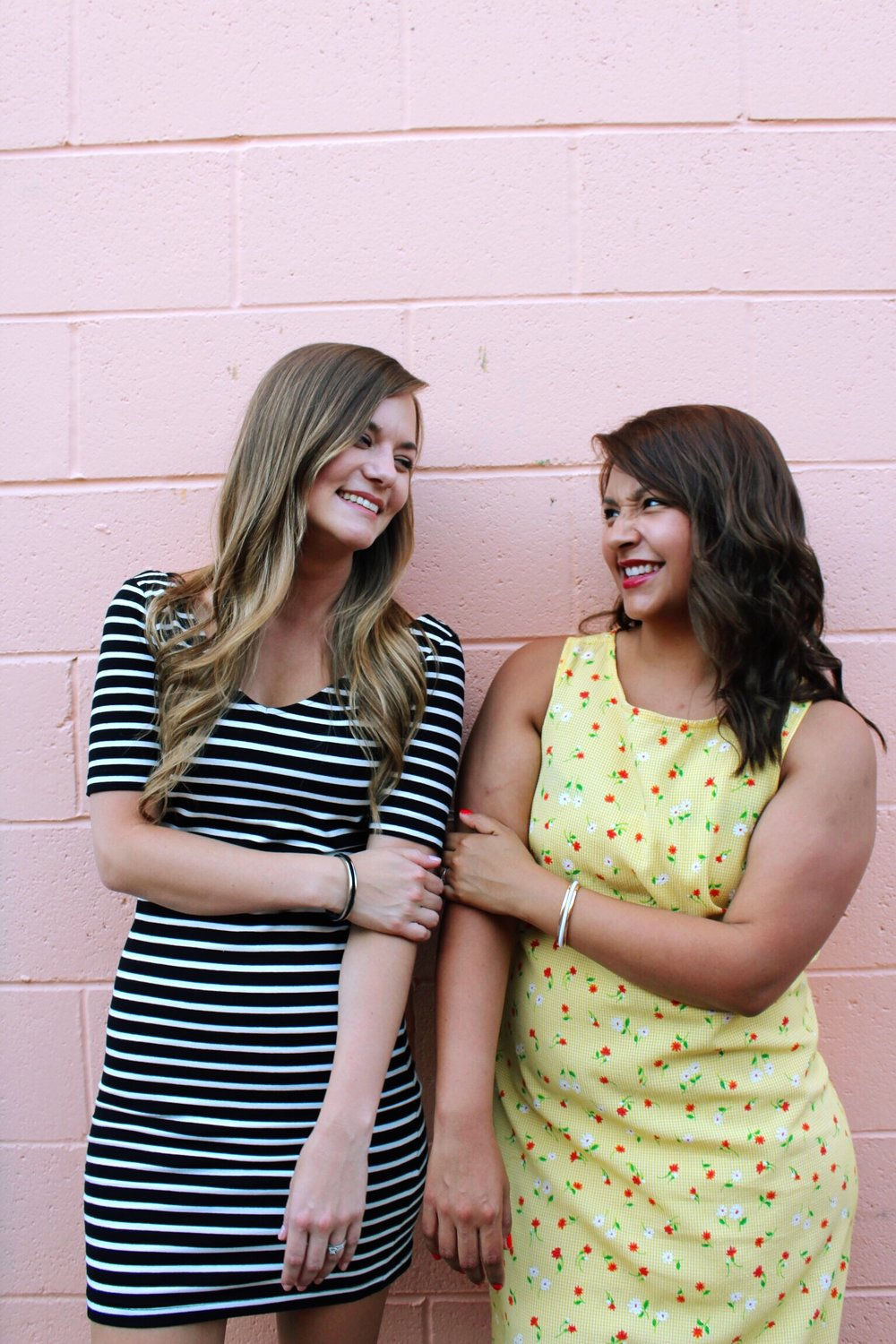Pink Wall. BFF's Celebrating National Best Friend Day.