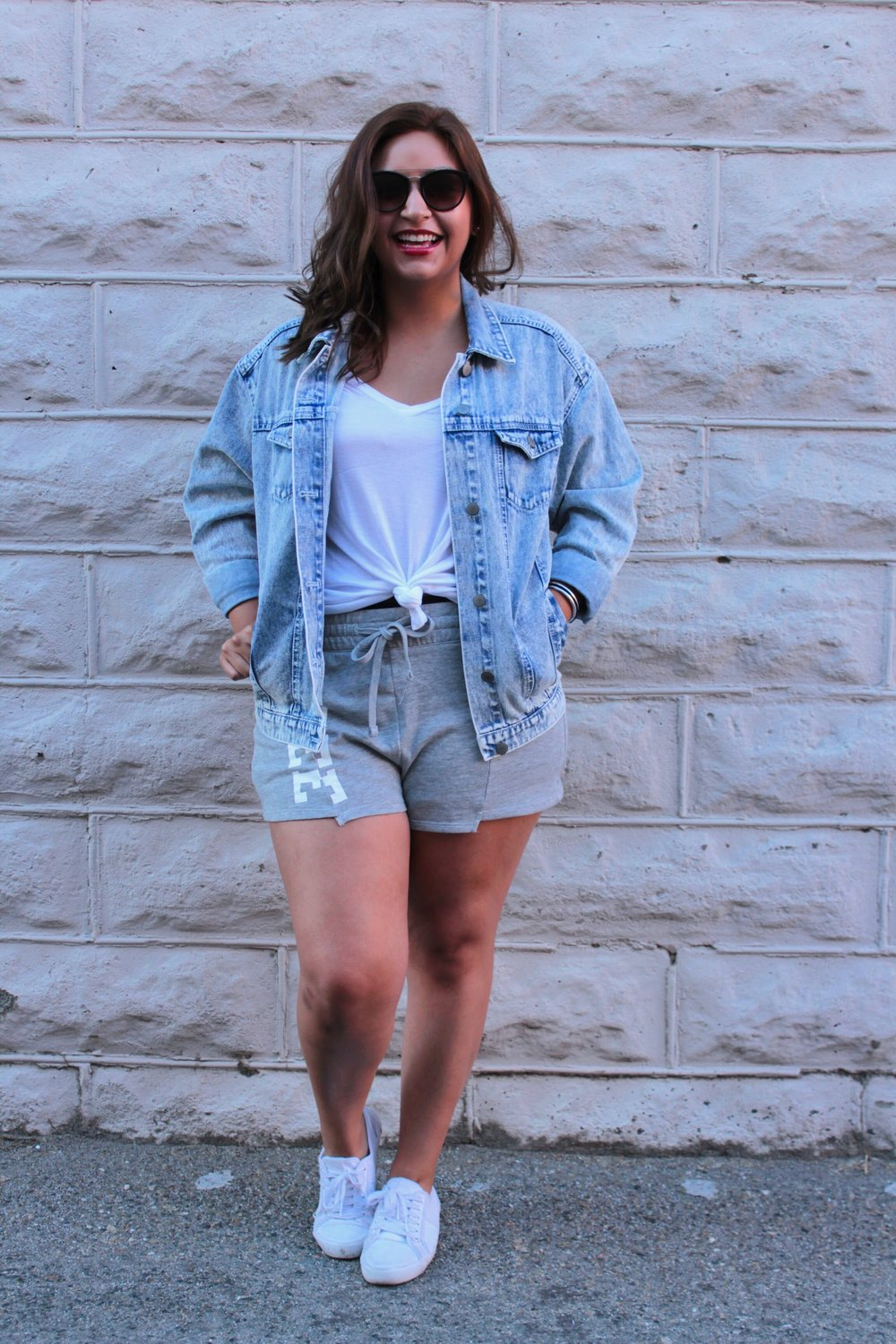 Mixing Denim and Sweats for a Streetstyle Fashion look.