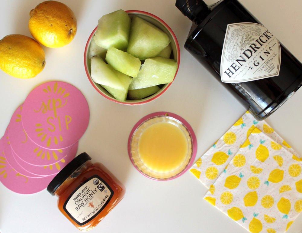 Cocktail Ingredients / Trader Joes Organic Honey / Hendricks Gin / Fresh Fruit