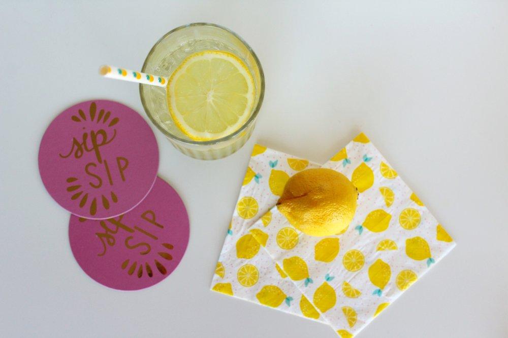 Pink Coasters / Lemon Napkins / Summer Cocktail