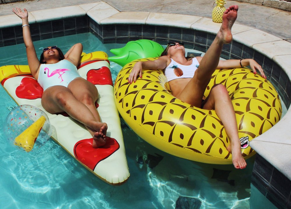 Forever21 Flamingo One Piece Swimsuit and Pineapple two piece swimsuit