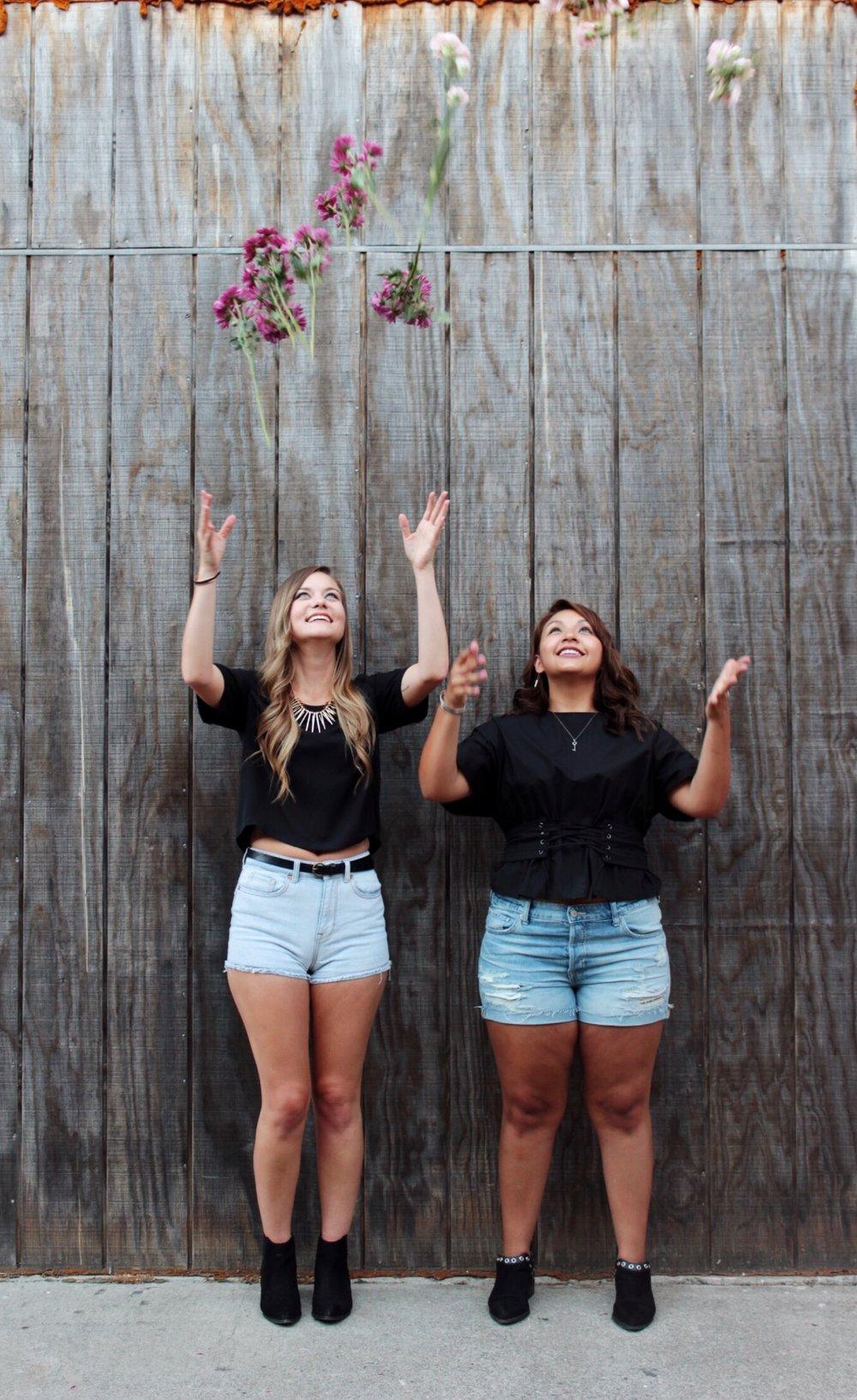 Throwing Carnation Flowers. Women's Denim Shorts and Basic Black Tops.