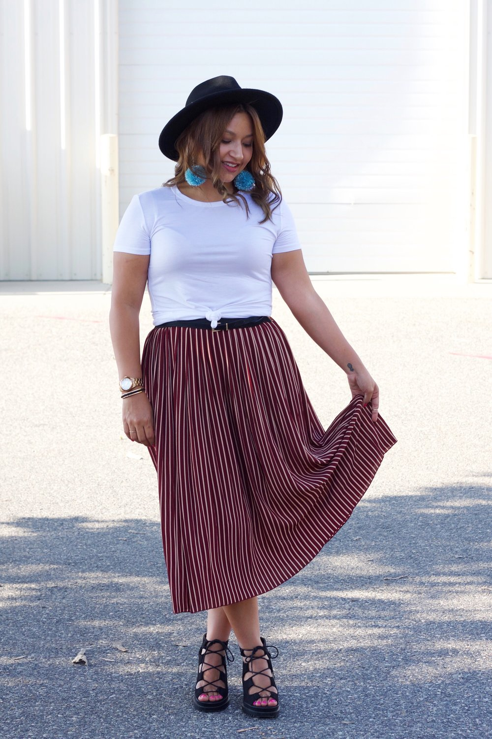 Stripped Midi Skirt and Basic white Tee with Belt detail.