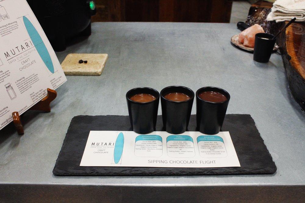 Sipping Chocolate Flight from Mutari Craft Chocolate