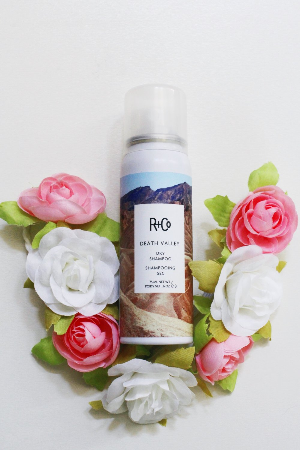 R+Co Death Valley Dry Shampoo with a pink and white flower crown headband