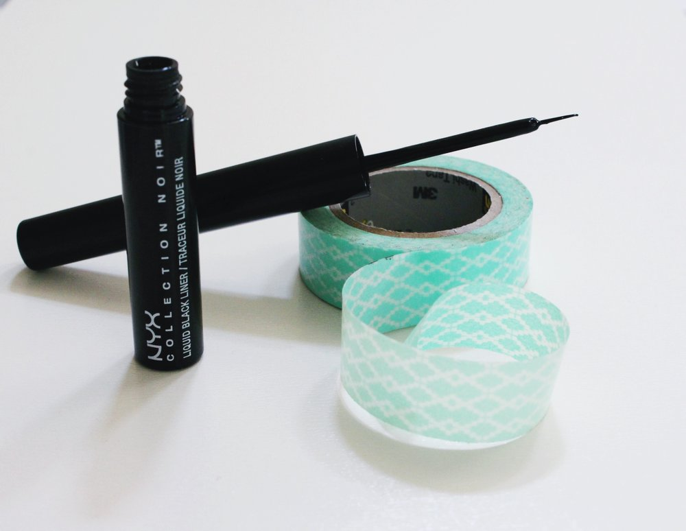 NYX Collection Noir Liquid Eyeliner and precision applicator with washi tape