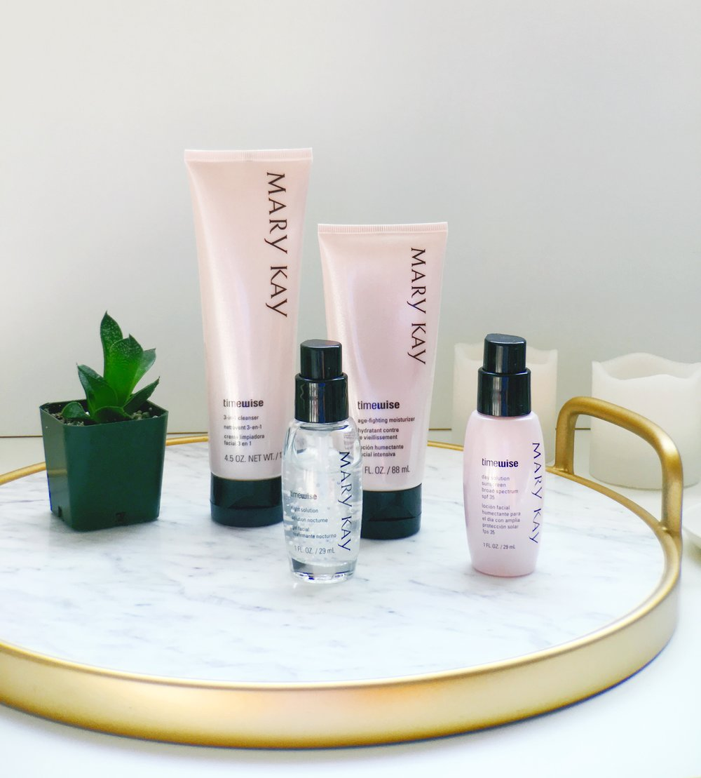 Mary Kay Timewise Skin Care Routine/ Marble and gold serving tray/ Succulents and candles