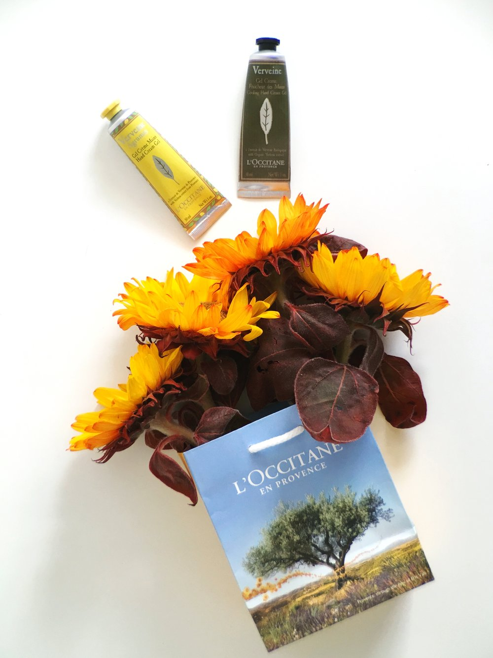 Yellow Sunflowers with L'Occitane Hand gel cream in Verviene/ Citrusy scents