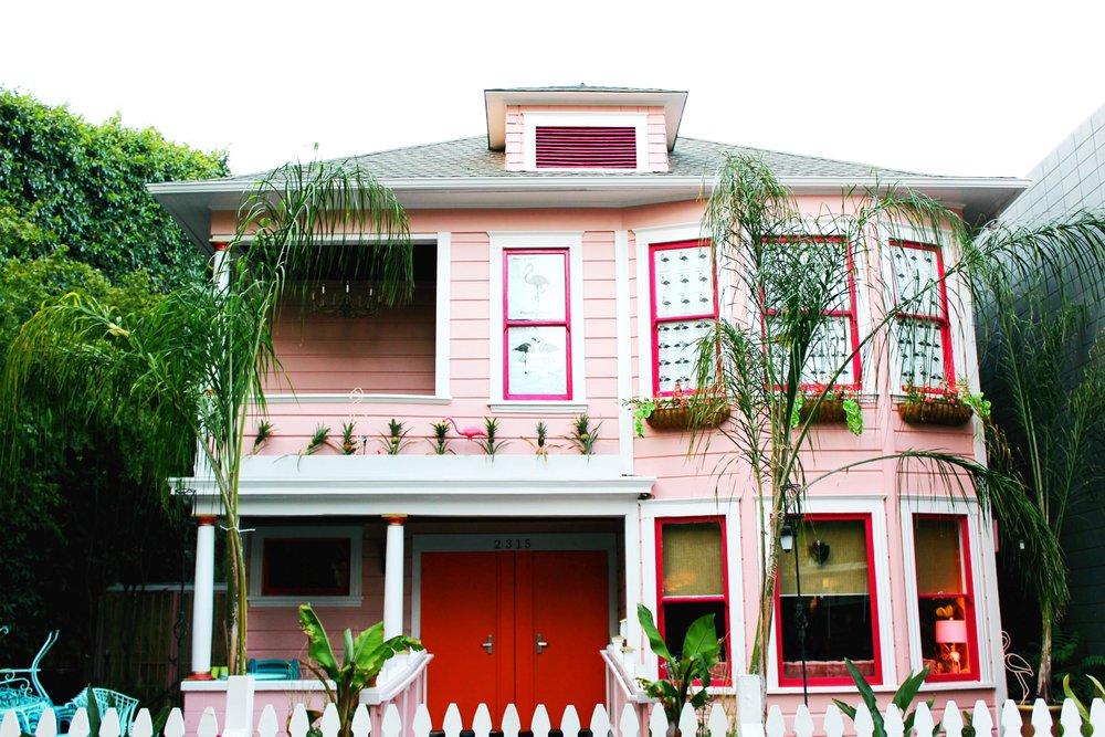 Flamingo Social House in Midtown Sacramento, Pink house with orange doors.