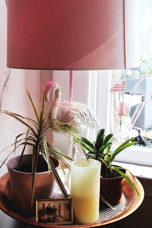 Flamingo Lamp with pink lamp shade