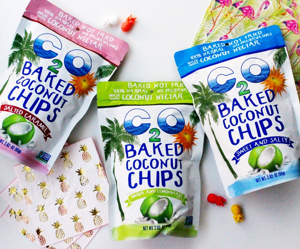 Baked C2O Coconut Chips. Three flavors include: Salted Caramel, Ginger & Lemongrass, and Sweet and Salty. Pineapple Napkins and pineapple drink markers from Target.