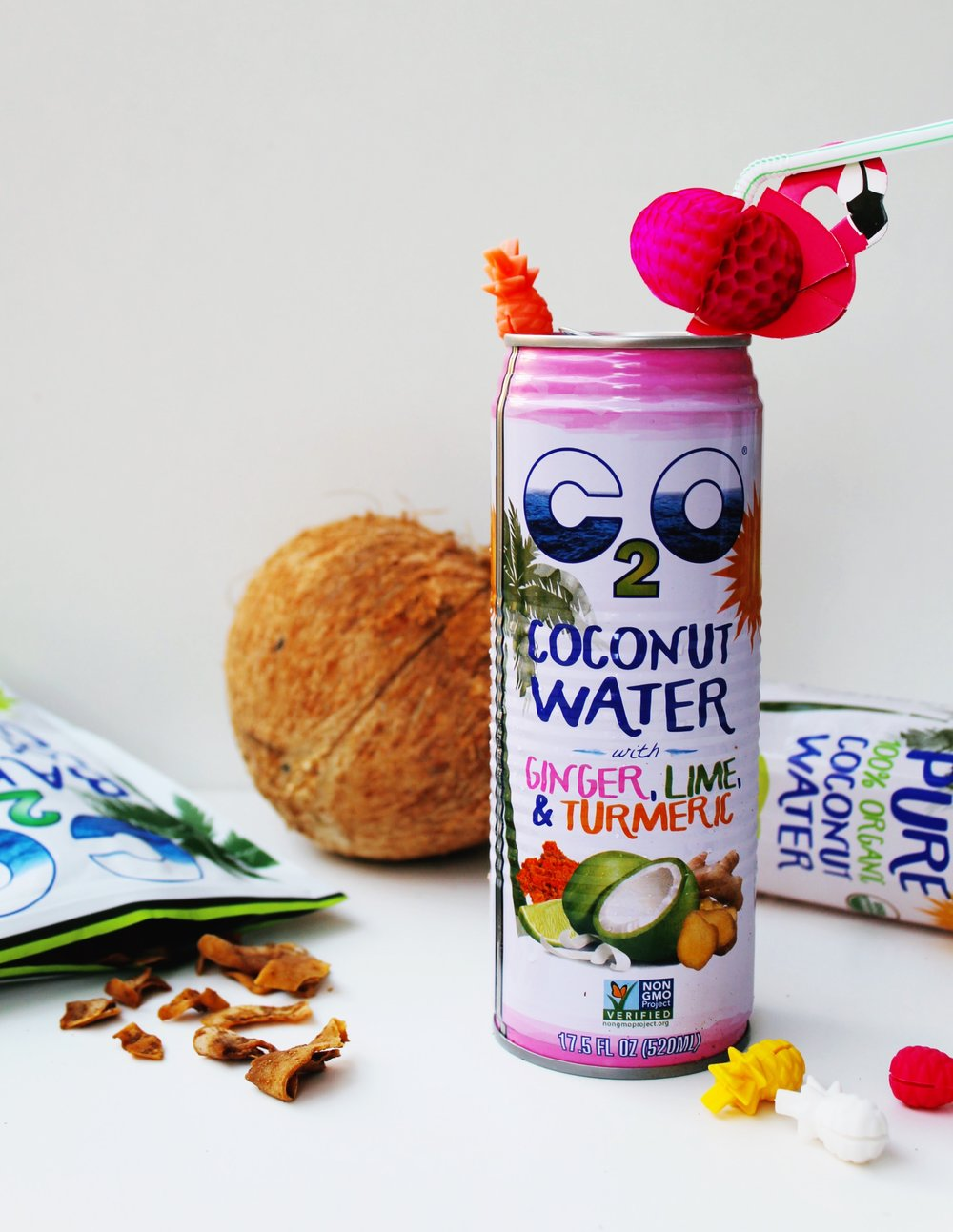 Coconut, Flamingo Straw, C2O Coconut Water with Ginger, Lime & Turmeric, Pineapple drink markers, Baked C2O coconut chips