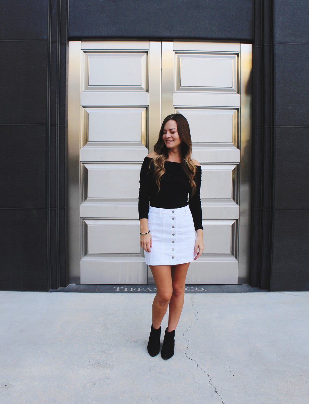 Black Off the Shoulder Forever 21 Blouse/ White Front Button Mini Skirt/ Black Ankle Boots/ Tiffany & Co. Roseville Galleria Store front