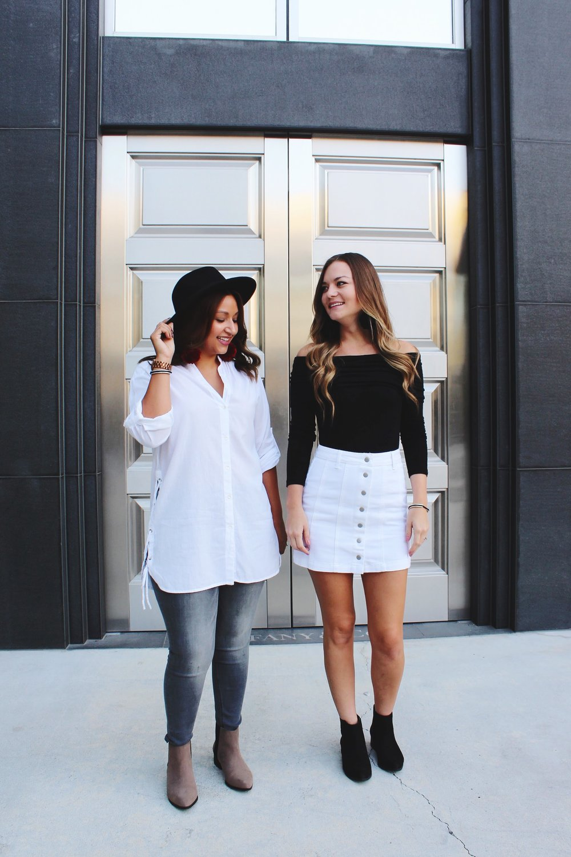 Fall Fashion/ Side Tie Cotton Zara Shirt/ Grey Express Jeans/ Maria Shireen Bracelets/ Pom Pom earrings/ best friends/ white after Labor Day