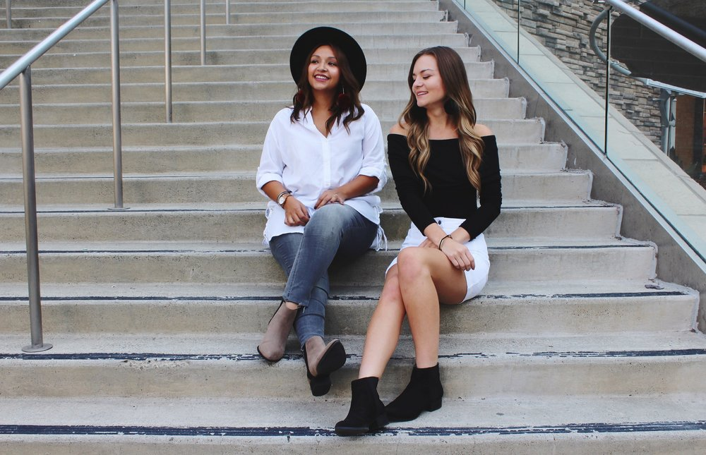 Fall Fashion/ Ankle Boots/ White Side Tie Blouse/ White Mini Skirt/ Black Off the Shoulder Top/ Grey Jeans