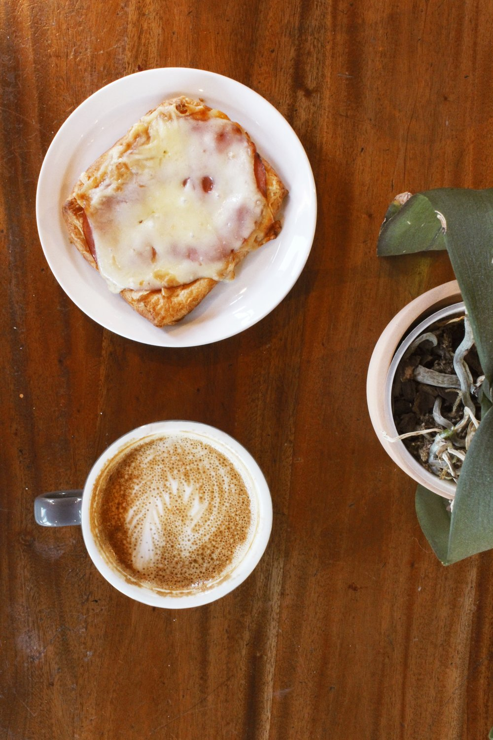 Ham and Cheese Croissant and Latte from Old Soul Coffee