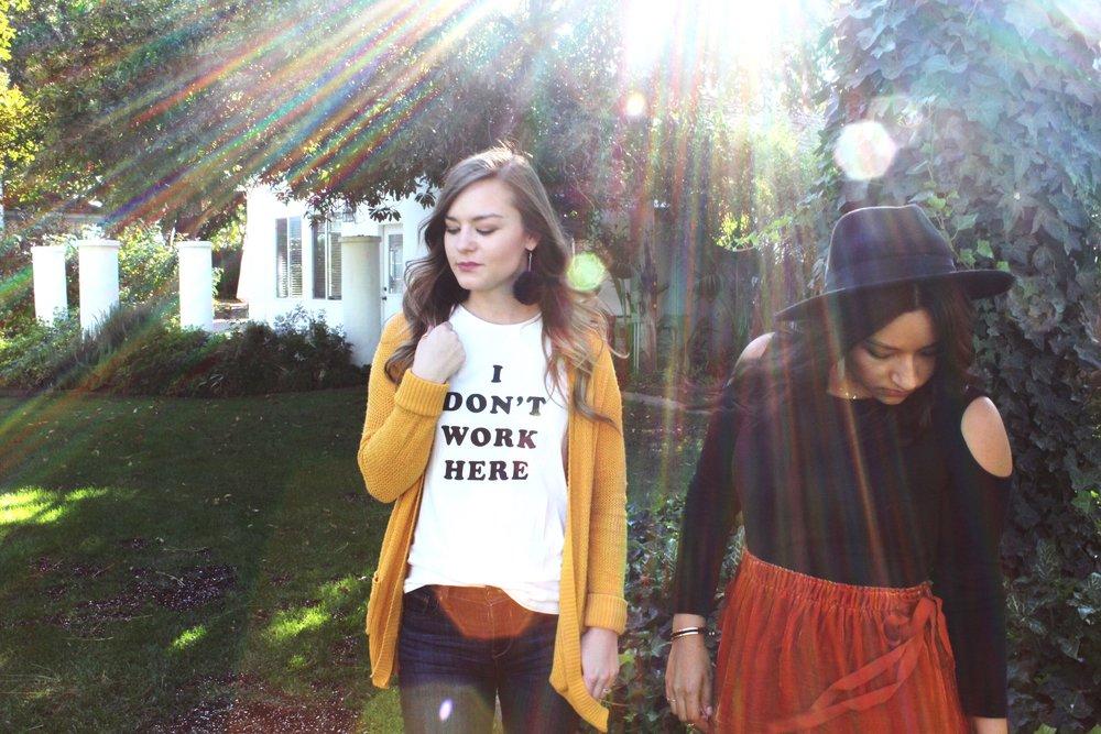 Lodi California winery Bando Graphic tee burnt orange skirt mustard yellow cardigan