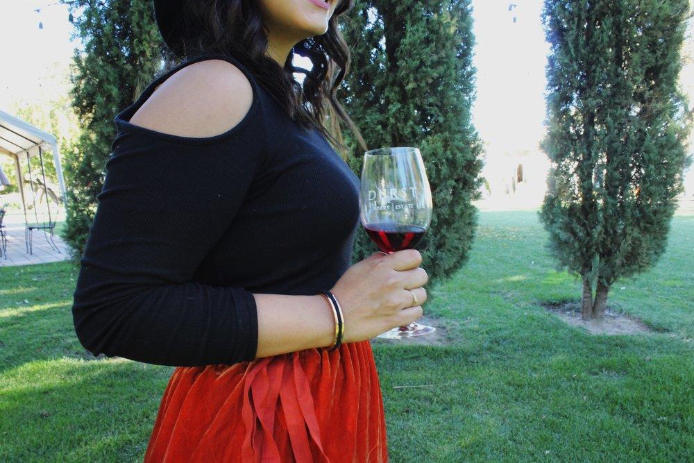 Lodi California Winery Maria Shireen Hair Tie Bracelet Burnt Orange Skirt