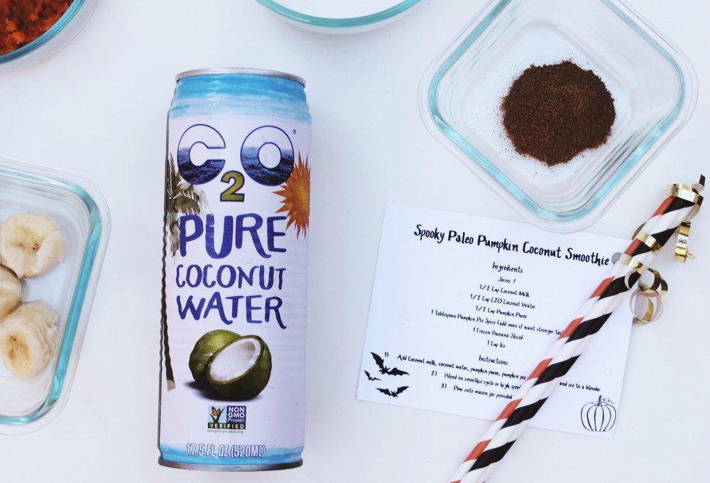 C2O Coconut water Paleo Pumpkin smoothie