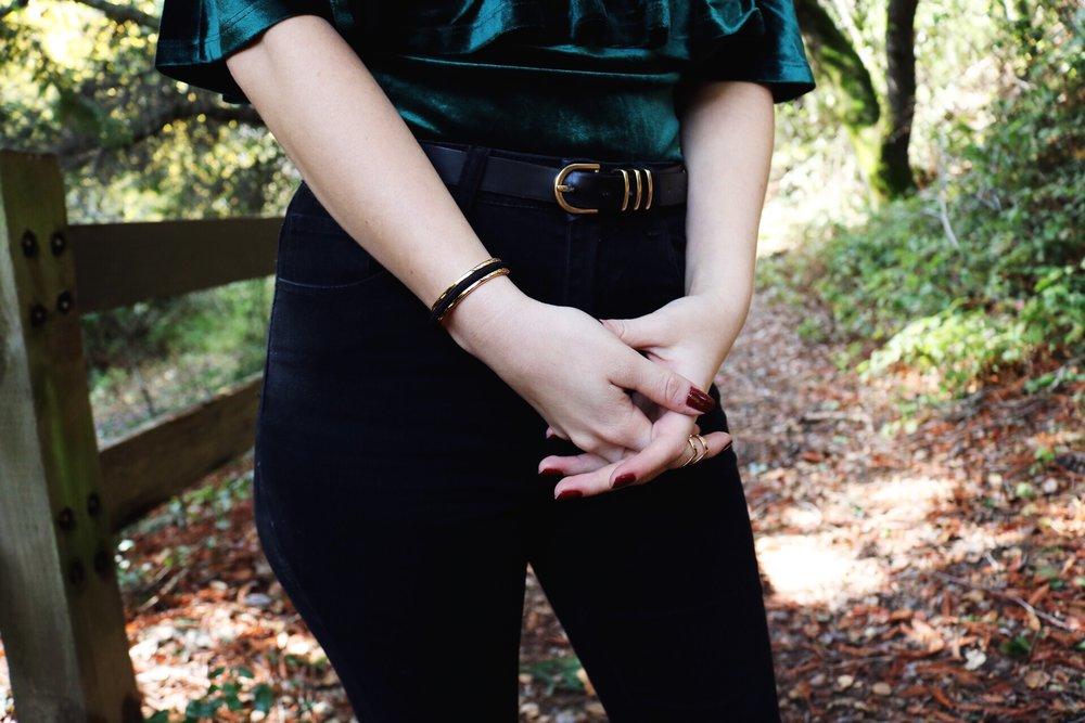 Maria Shireen bracelet emerald green velvet top