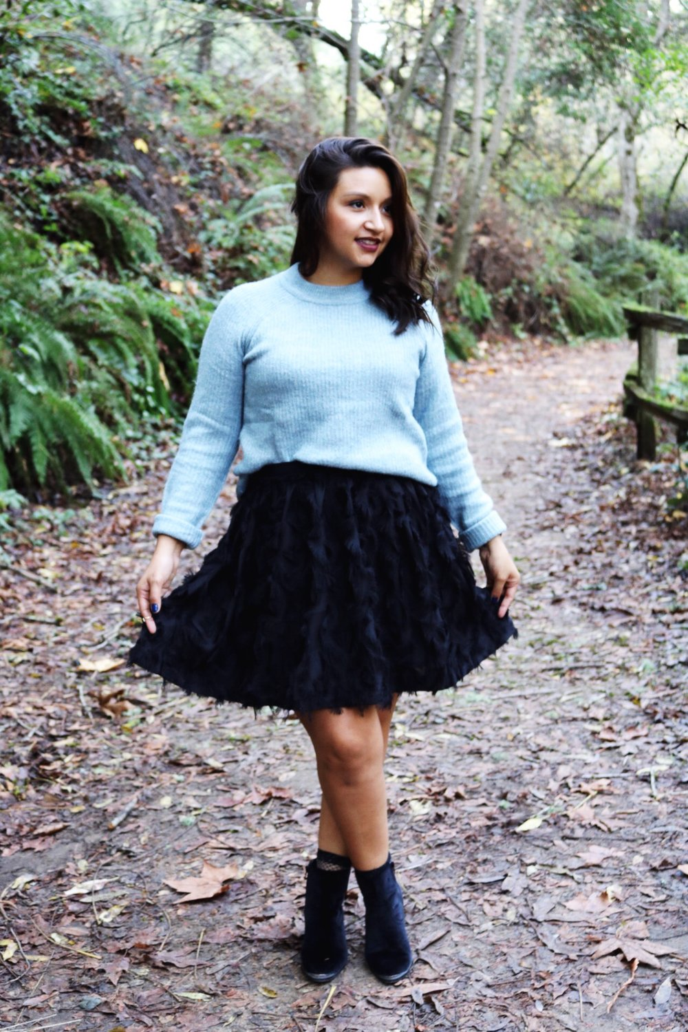 Ice blue fuzzy sweater black skater skirt black booties