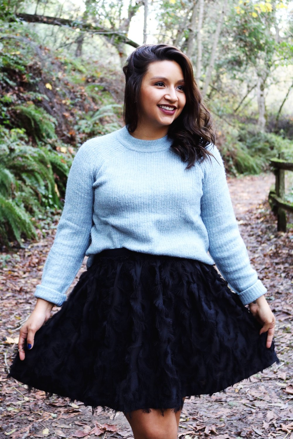 black skater skirt ice blue fuzzy sweater