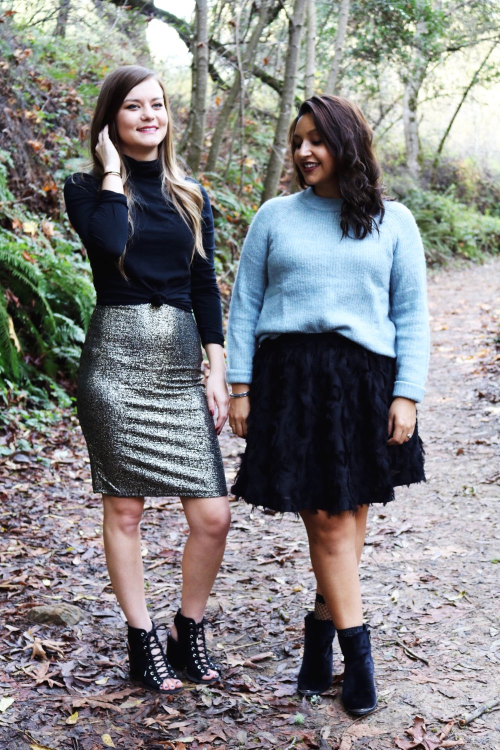 Holiday outfits gold glitter skirt black turtle neck ice blue sweater skater skirt