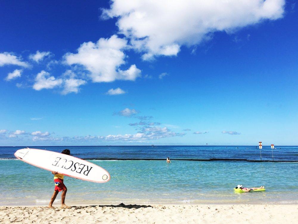Oahu Hawaii rescue surf board