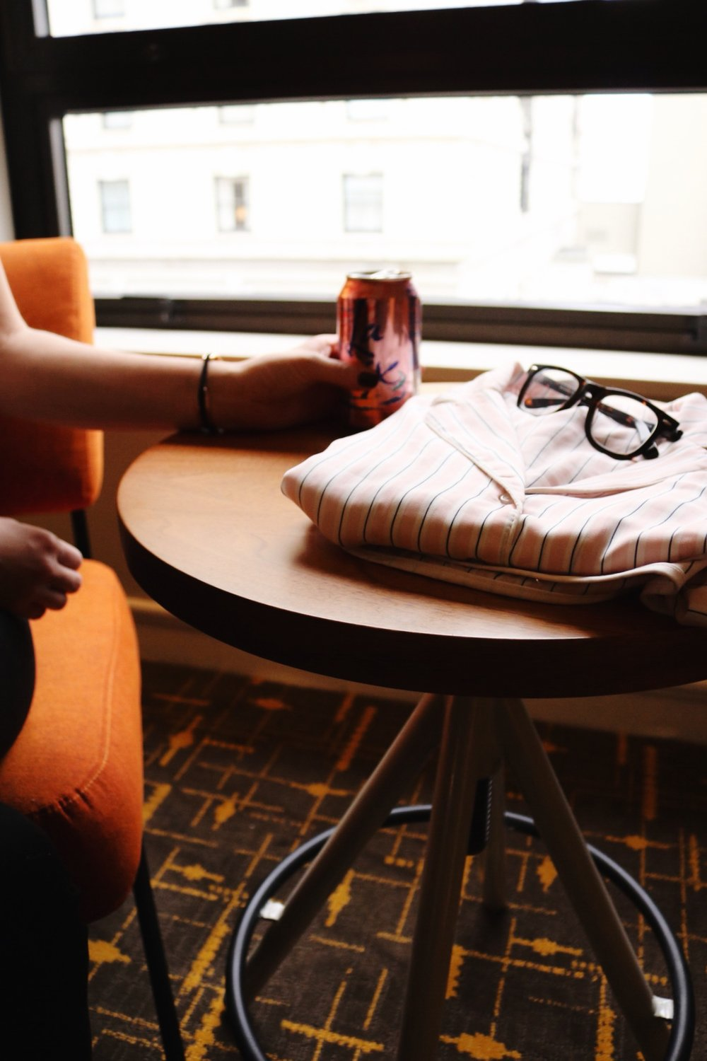 Striped pink pajama set, black rim glasses, La Croix, San Fransisco getaway