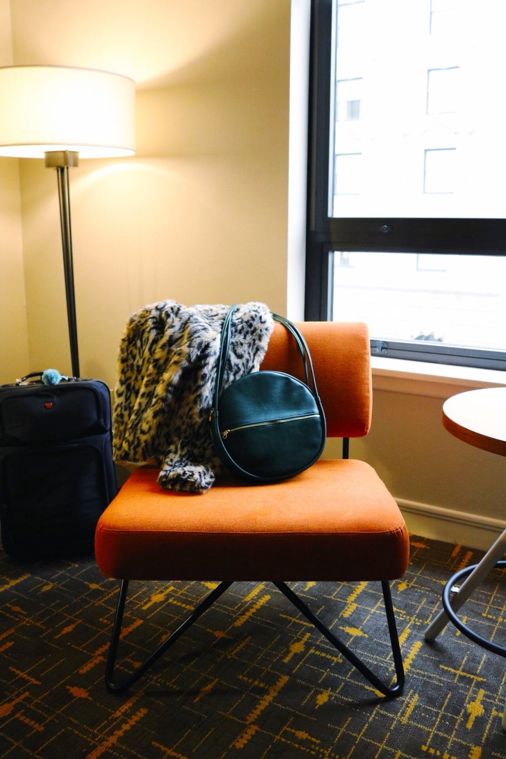 Travel, orange modern chair, San Francisco Hotel, Stanford Court Inn, Ban.do bag, cheetah jacket