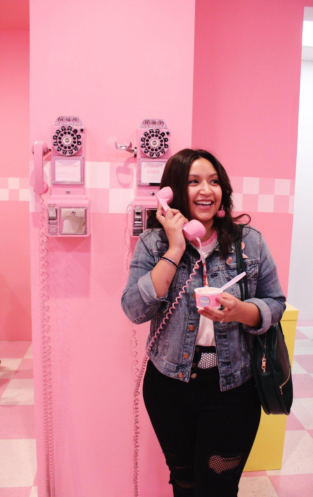 Pink Telephone, Museum of Ice Cream, Denim Jacket