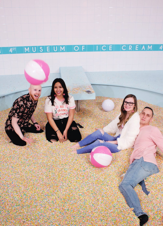 Sprinkle pool, museum of ice cream, friends, beach balls