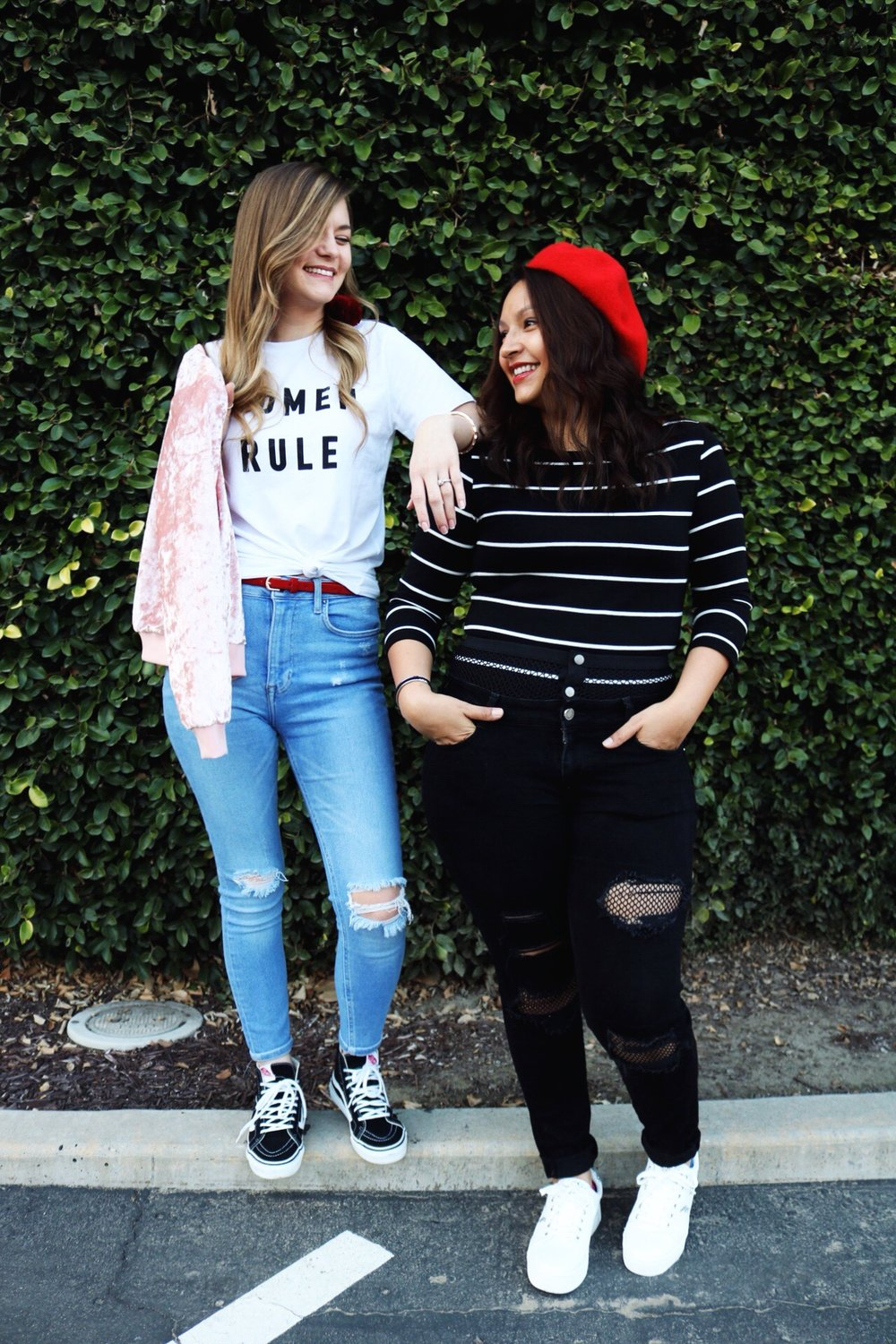 Women Rule Forever 21 Tee, Fish net black denim, distressed light denim, pink velvet bomber, red beret, maria shireen bracelet, Galentines Day, black high top Vans