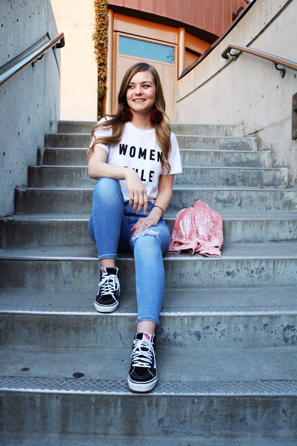 Forever 21 Women Rule Tee, red beret, black fish net denim, light distressed denim, Galentines Day, Modesto photo locations, Black Vans