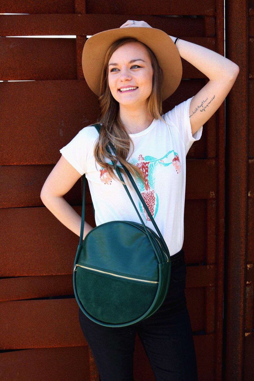 Dazey_LA feminist t-shirt Cuterus t-shirt camel wide brim fedora Green Ban.do bag Maria Shireen Bracelets