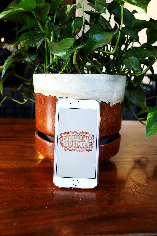 Coffee house Dazey_LA Feminist clothing phone background