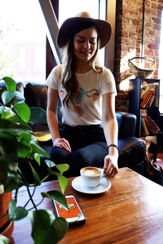 Dazey_LA feminist t-shirt Cuterus t-shirt camel wide brim fedora Green Ban.do bag Coffee House Latte art Maria Shireen Bracelet