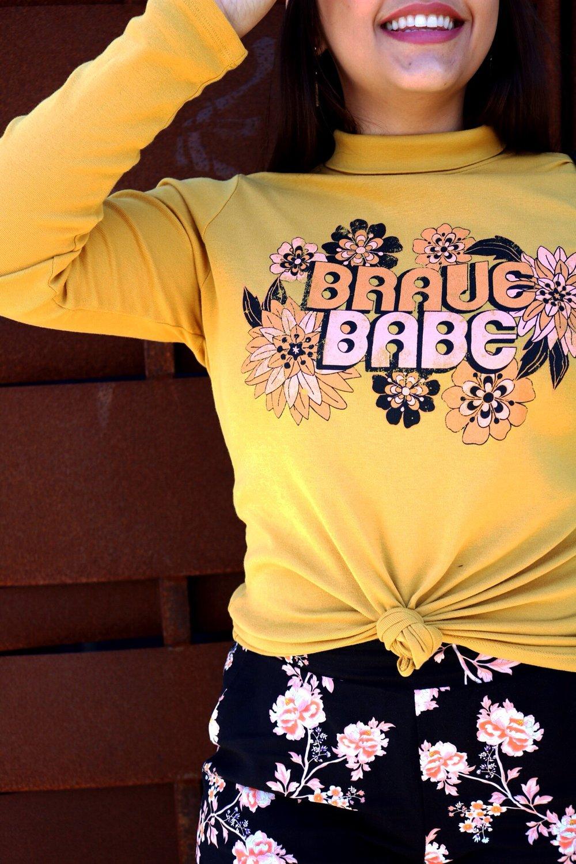 Dazey_LA feminist t-shirt Brace Babe t-shirt camel wide brim fedora Black and gold Ban.do BFF bag Yellow bug Floral pants