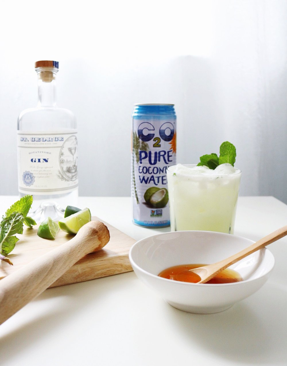 Honey Water Muddled Lime Mint C20 Coconut Water Coconut Cream St. George Gin Cocktail
