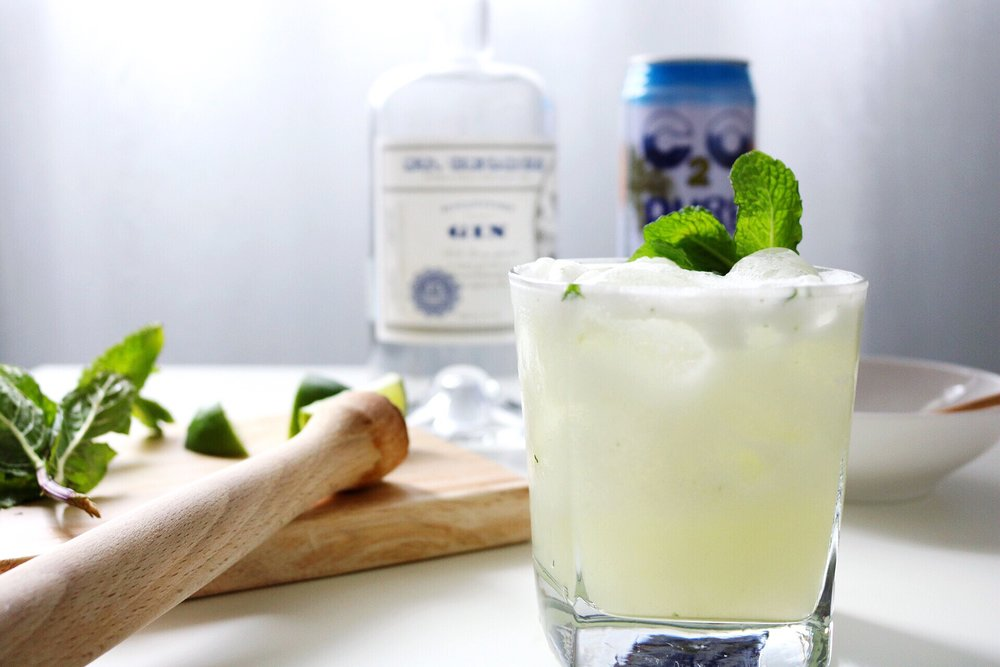 St. George Gin Muddle Lime Mint Coconut Water Coconut Cream Cocktail