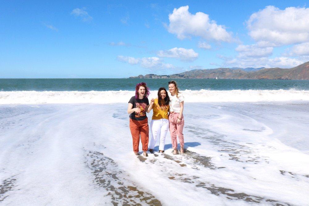 Ocean H&M White Denim Forever 21 Pink Pants Orange Pants Beach Day Girls Day San Fransisco Dazey_LA