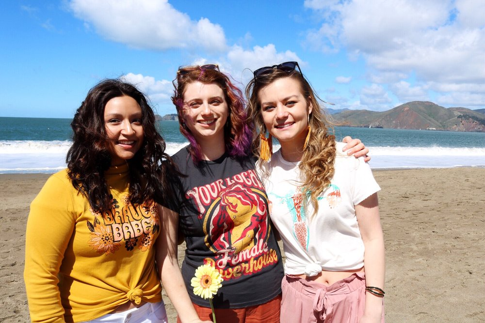 Dazey_LA Feminist T-Shirts Maria Shireen Hair Tie Bracelelts Tassel Earrings Curly Hair Beach Day San Francisco Ocean