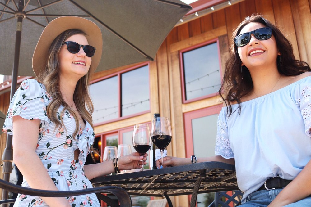 BFF's wearing sunglasses wine tasting on a sunny spring day in Lodi, California