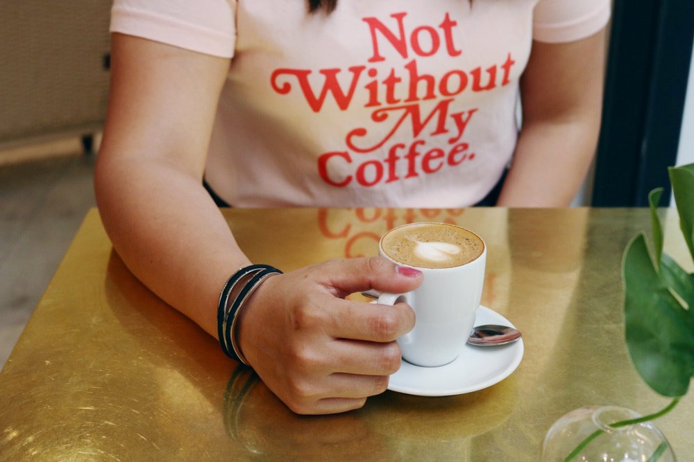 """Ban.do """"Not without my Coffee"""" Tee, Maria Shireen Infinity Bracelet with a Don Francisco's Cortadito"""