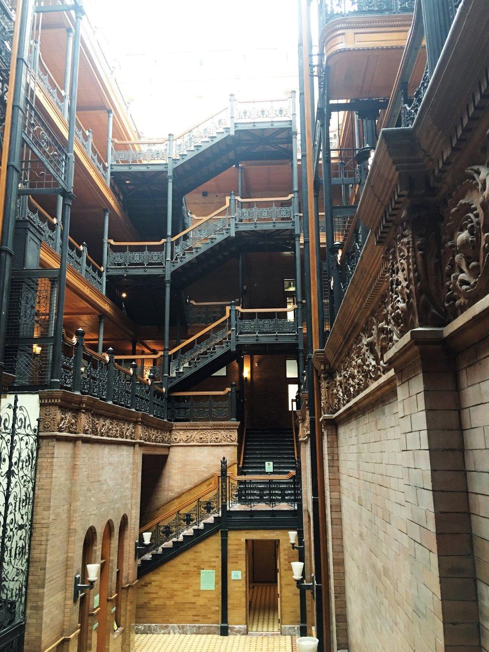 Beautiful iron working details at the Bradbury Building in Southern California   rnia