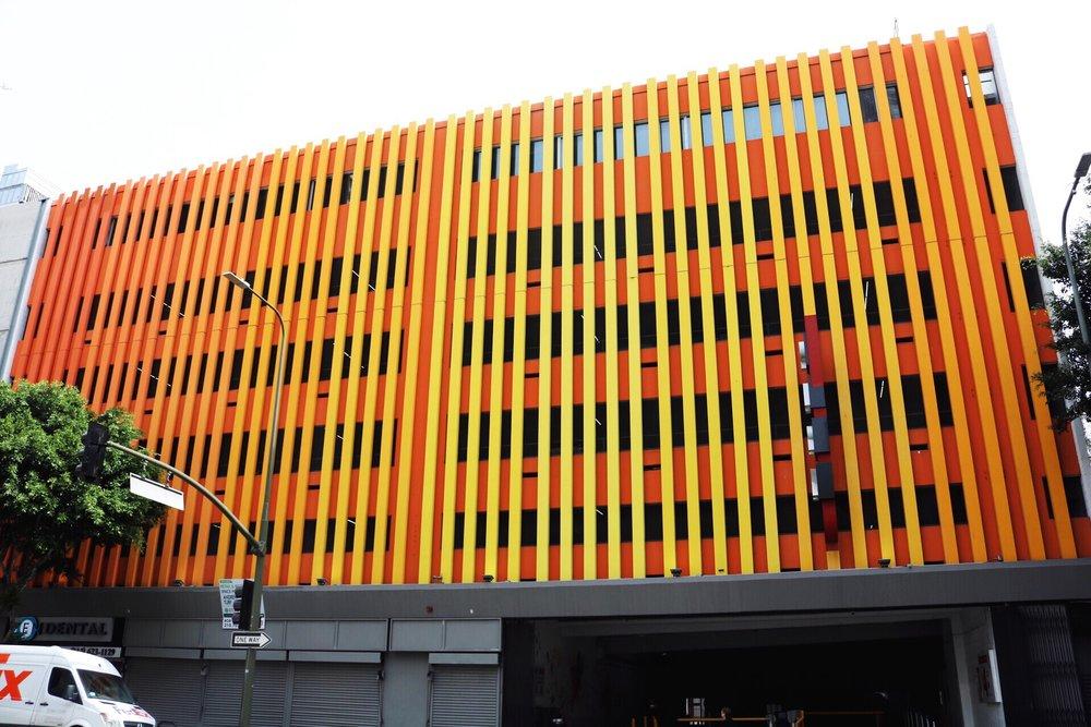 Bright Orange Parking garage in Downtown Los Angeles, California