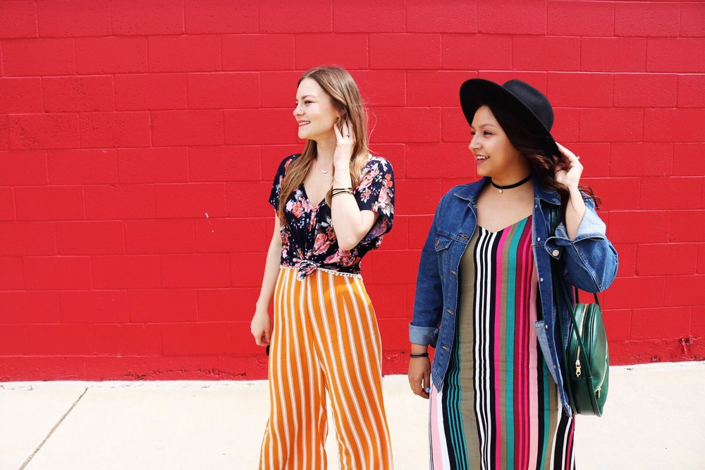 Spring Fashion including how to wear prints. Express multicolor midi slip dress and denim jacket