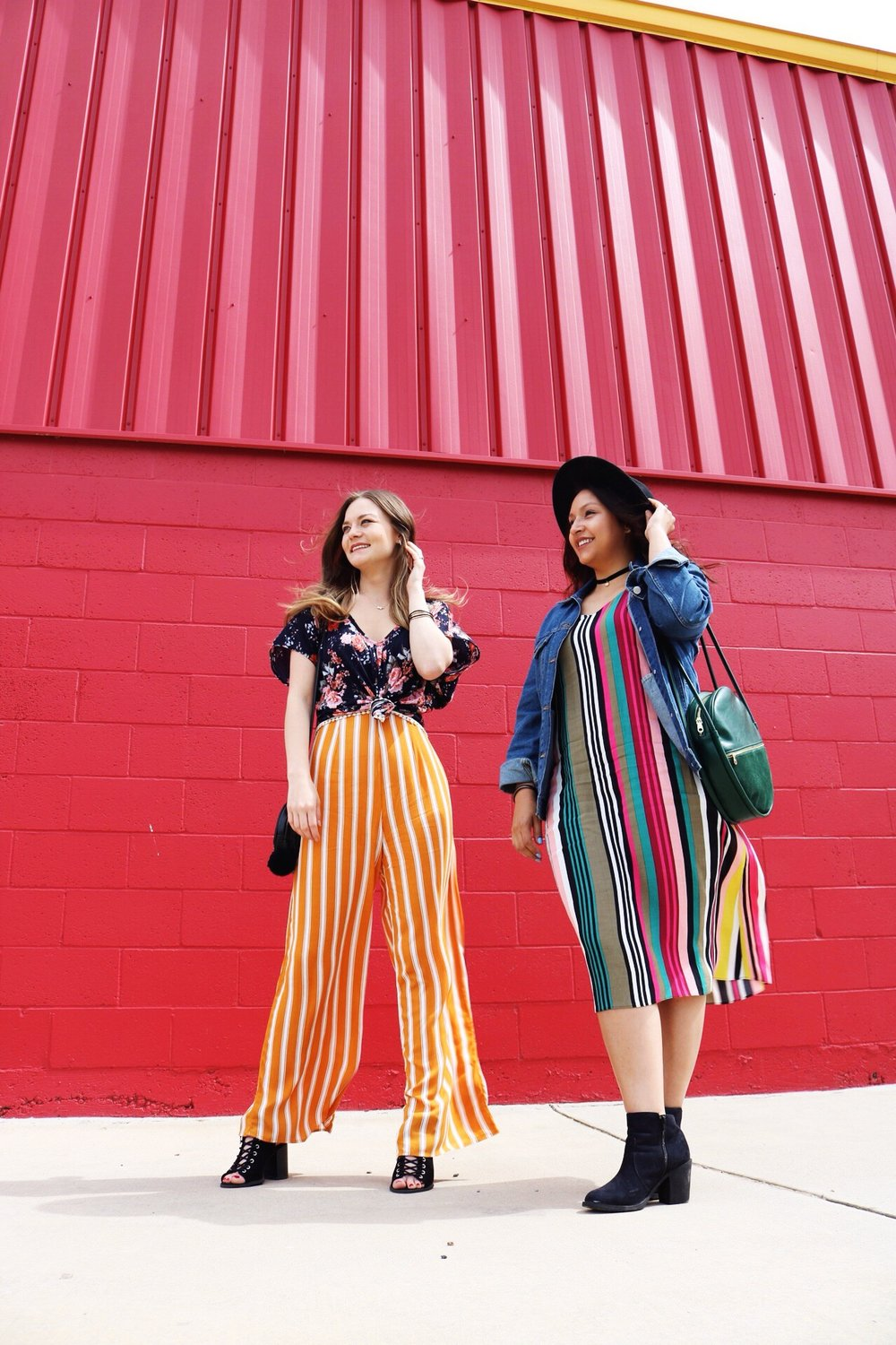 Yellow Striped jumpsuit with floral top. Express Multicolor striped spaghetti strap midi slip dress. Red wall