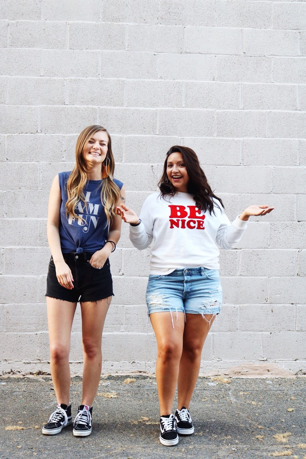 Ban.do Graphic Tees, Black High Top Vans, Confidence, Self-Love, BFF's Laughing